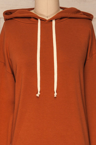 Fasseland Clay Burnt Orange Long Sleeved Top | La Petite Garçonne front close-up