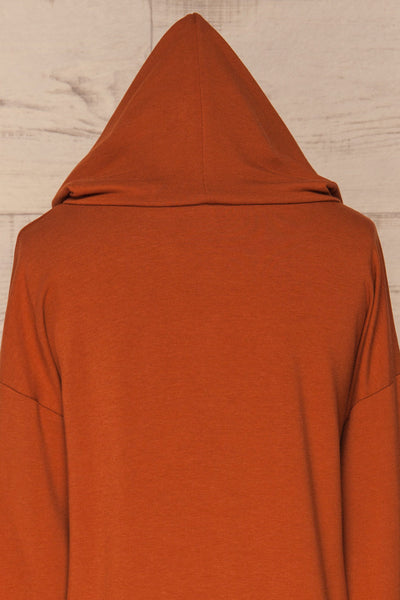 Fasseland Clay Burnt Orange Long Sleeved Top | La Petite Garçonne back close-up hood