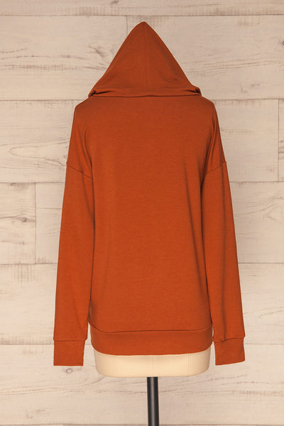 Fasseland Clay Burnt Orange Long Sleeved Top | La Petite Garçonne back view hood