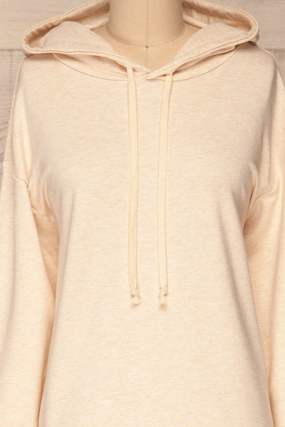 Fasseland Sand Beige Long Sleeved Top | La Petite Garçonne front close-up