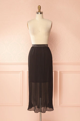 Fatema Noir Black Pleated Midi Skirt | Boutique 1861