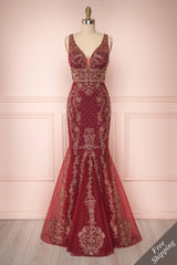 Fatime Burgundy & Gold Tulle Mermaid Gown | Boutique 1861