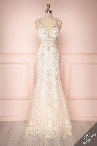 Fatime Ivory & Gold Tulle Mermaid Bridal Gown | Boutique 1861