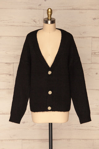 Fauske Anis Black Knit Button-Up Cardigan | La Petite Garçonne front view