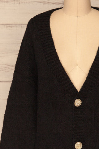 Fauske Anis Black Knit Button-Up Cardigan | La Petite Garçonne front close-up