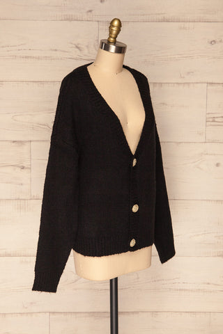 Fauske Anis Black Knit Button-Up Cardigan | La Petite Garçonne side view