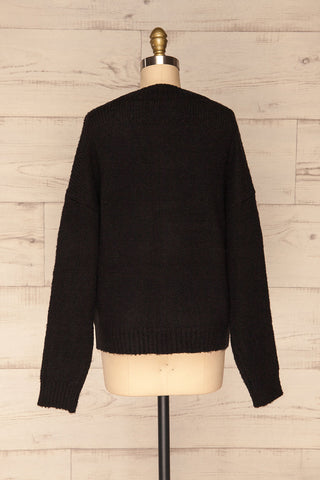 Fauske Anis Black Knit Button-Up Cardigan | La Petite Garçonne back view