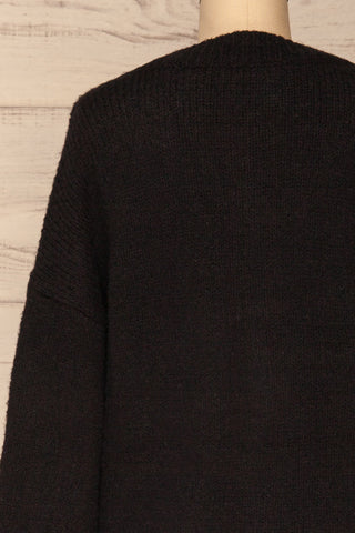Fauske Anis Black Knit Button-Up Cardigan | La Petite Garçonne back close-up