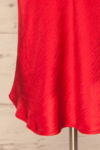 Fawn Red Silky Dress | Robe Rouge| La Petite Garçonne bottom close-up