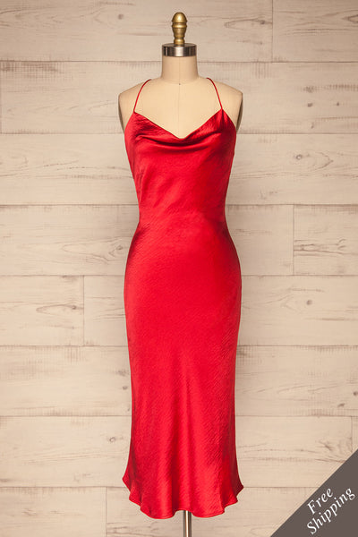 Fawn Red Silky Dress | Robe Rouge| La Petite Garçonne front view
