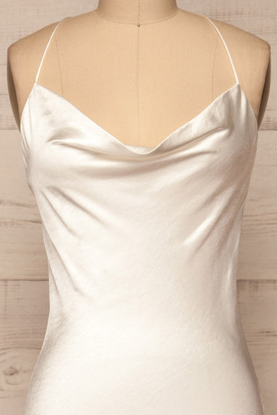 Fawn White Silky Dress | Robe Blanche | La Petite Garçonne front close-up