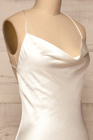 Fawn White Silky Dress | Robe Blanche | La Petite Garçonne side close-up