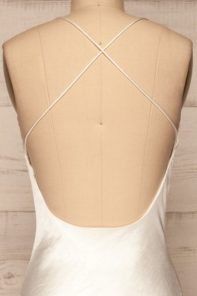 Fawn White Silky Dress | Robe Blanche | La Petite Garçonne back close-up