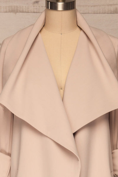 Faylinn Beige Cascade Draped Collar Coat front close up open | La petite garçonne