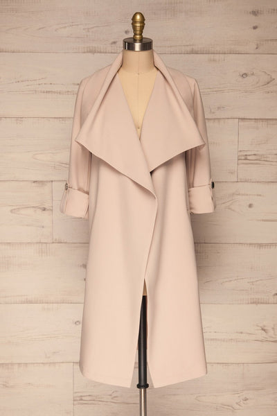 Faylinn Beige Cascade Draped Collar Coat front view open | La petite garçonne