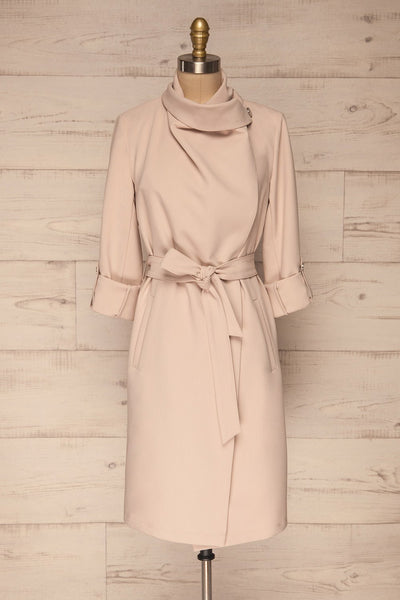 Faylinn Beige Cascade Draped Collar Coat front view neck | La petite garçonne