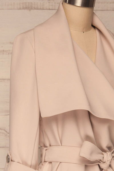 Faylinn Beige Cascade Draped Collar Coat side close up | La petite garçonne