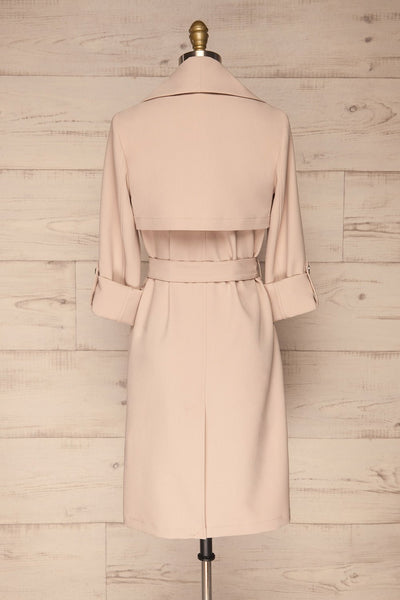 Faylinn Beige Cascade Draped Collar Coat back view | La petite garçonne