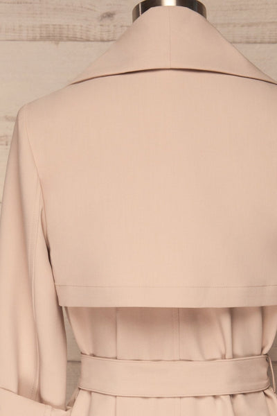 Faylinn Beige Cascade Draped Collar Coat back close up | La petite garçonne