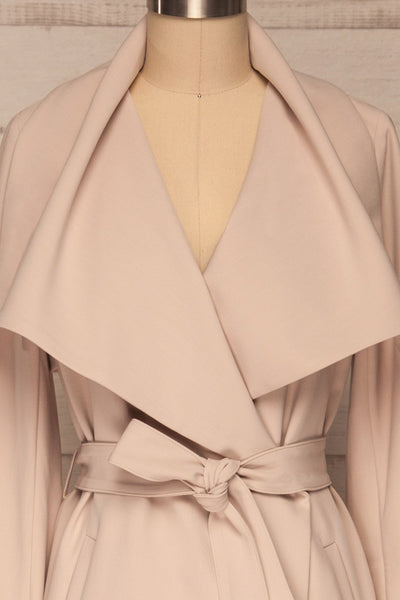 Faylinn Beige Cascade Draped Collar Coat front close up | La petite garçonne