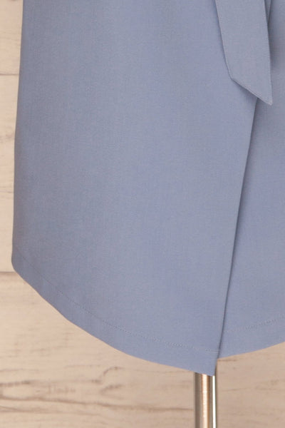 Faylinn Blue Cascade Draped Collar Coat bottom | La petite garçonne