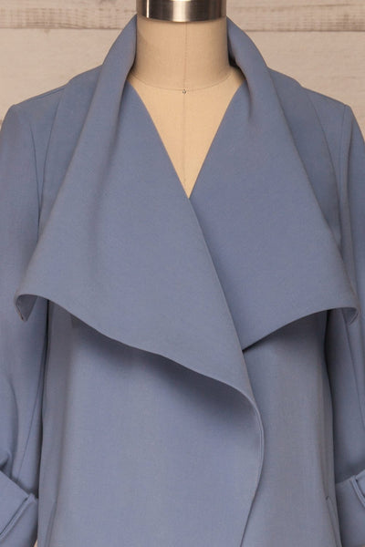 Faylinn Blue Cascade Draped Collar Coat front close up open | La petite garçonne