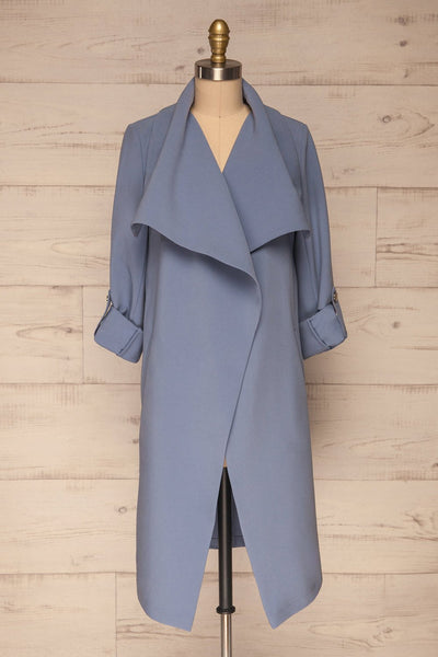Faylinn Blue Cascade Draped Collar Coat front view open | La petite garçonne