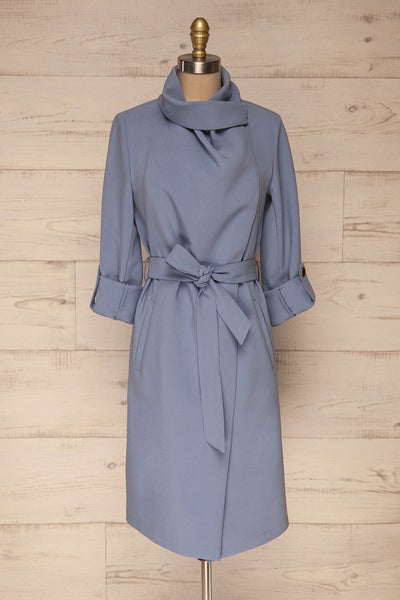 Faylinn Blue Cascade Draped Collar Coat front view neck | La petite garçonne