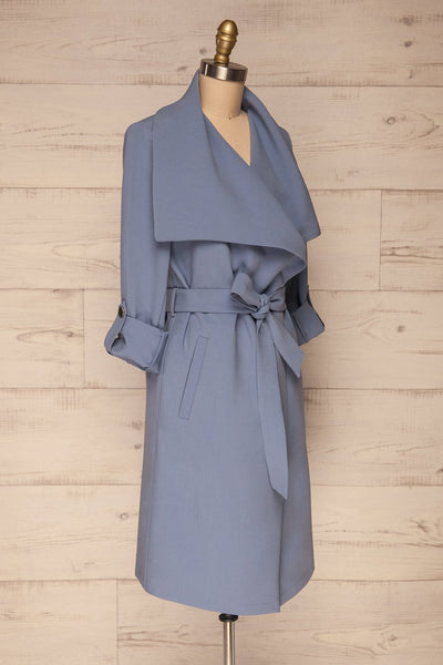 Faylinn Blue Cascade Draped Collar Coat side view | La petite garçonne