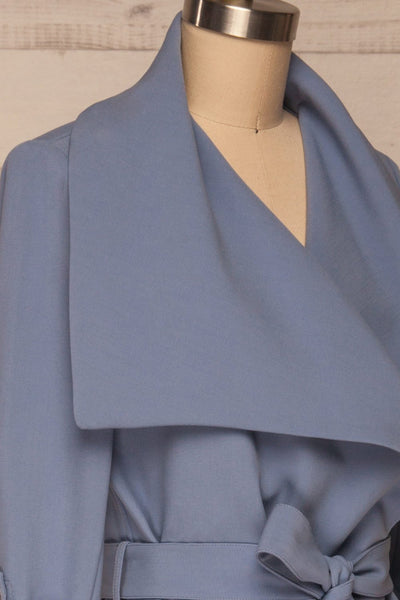 Faylinn Blue Cascade Draped Collar Coat side close up | La petite garçonne