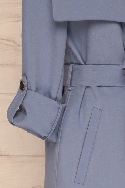Faylinn Blue Cascade Draped Collar Coat sleeves | La petite garçonne