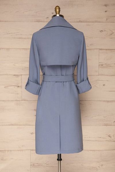 Faylinn Blue Cascade Draped Collar Coat back view | La petite garçonne