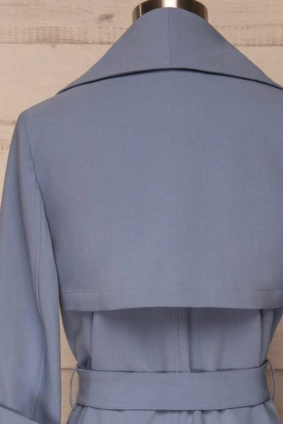 Faylinn Blue Cascade Draped Collar Coat back close up | La petite garçonne