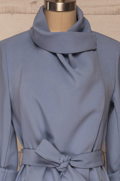 Faylinn Blue Cascade Draped Collar Coat front close up neck | La petite garçonne