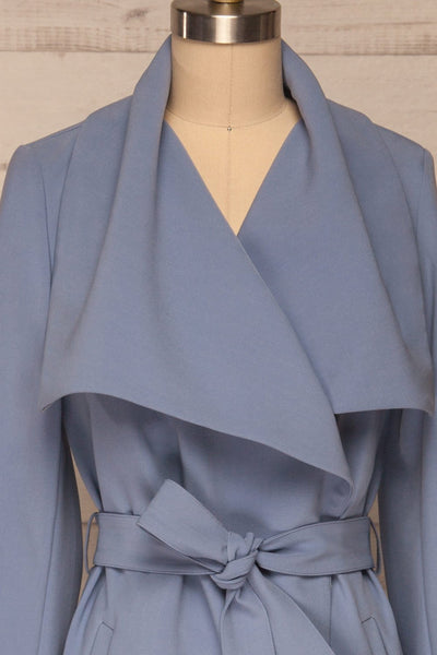 Faylinn Blue Cascade Draped Collar Coat front close up | La petite garçonne