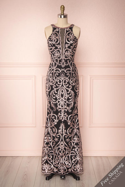 Fearne Black & Lilac Embroidered Halter Mermaid Gown | Boutique 1861