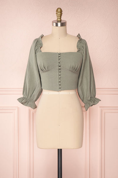 Fehime Sage Green Button-Up Crop Top | Boutique 1861