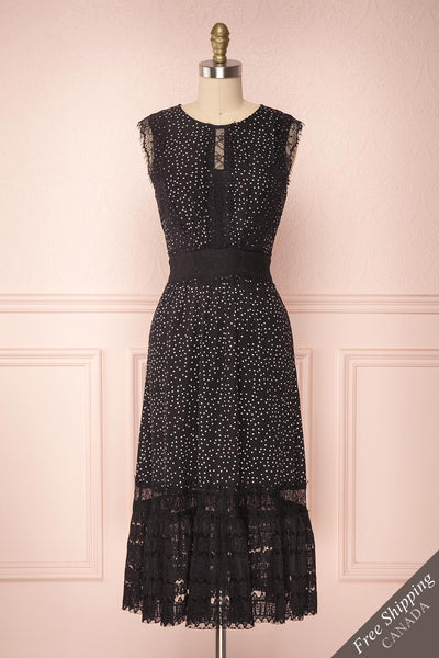 Fidelia Black & White Polka Dot Midi Dress w. Lace | Boutique 1861
