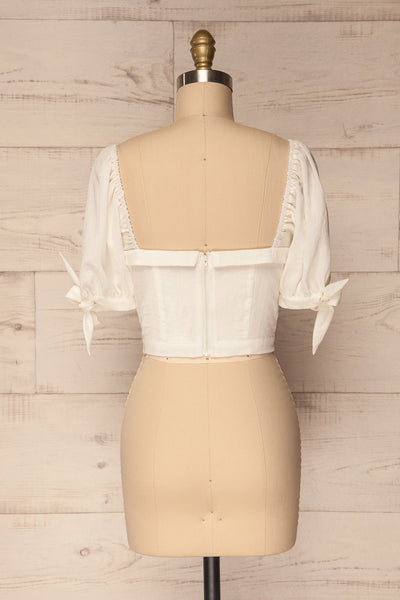 Filiates White Crop Top with Puff Sleeves | La Petite Garçonne 5