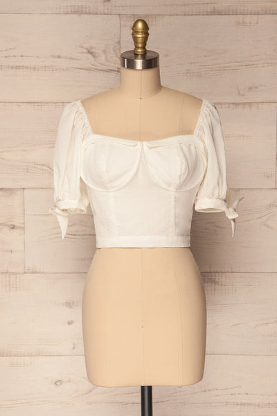 Filiates White Crop Top with Puff Sleeves | La Petite Garçonne 1