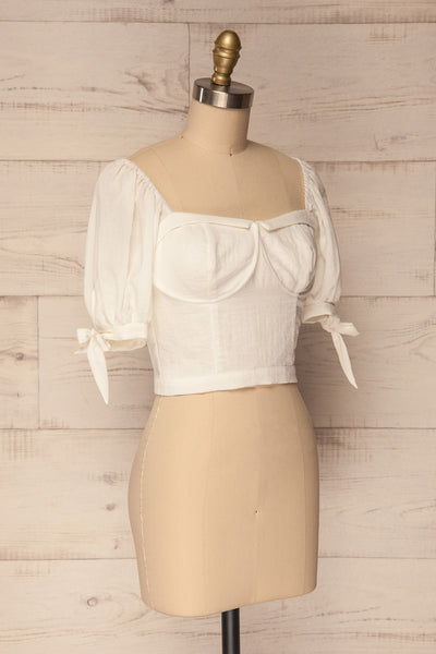 Filiates White Crop Top with Puff Sleeves | La Petite Garçonne 3