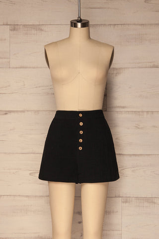 Fillan Black High Waist Flared Button-Up Shorts | La Petite Garçonne