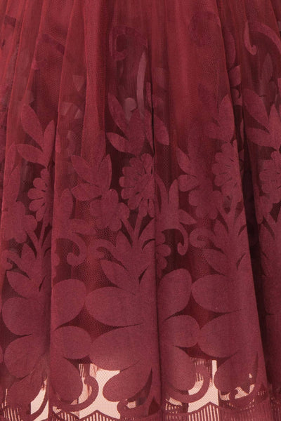 Filly Burgundy Velvet Pattern Short Party Dress | Boutique 1861