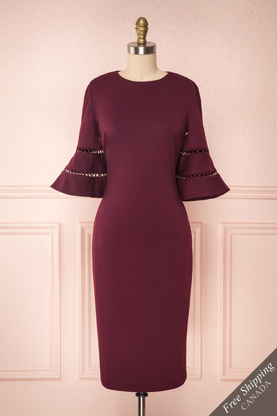 Filnio Burgundy Fitted Ted Baker Cocktail Dress | Boutique 1861
