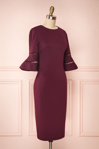 Filnio Burgundy Fitted Ted Baker Cocktail Dress  | SIDE VIEW | Boutique 1861