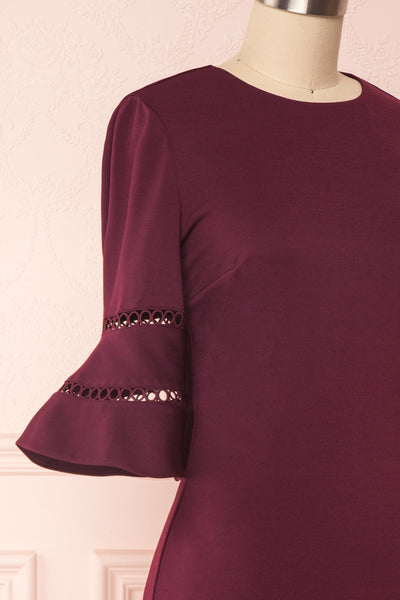 Filnio Burgundy Fitted Ted Baker Cocktail Dress  | SIDE CLOSE UP | Boutique 1861