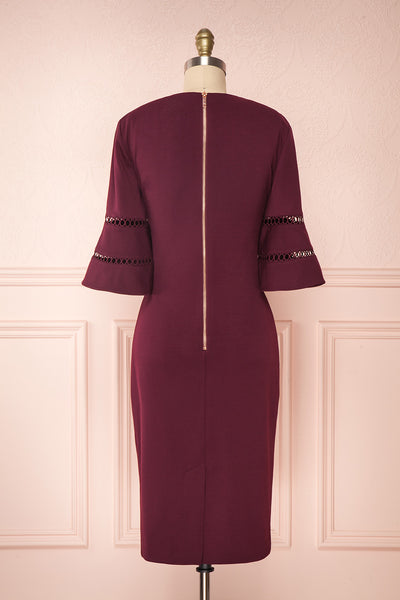 Filnio Burgundy Fitted Ted Baker Cocktail Dress |  BACK VIEW | Boutique 1861