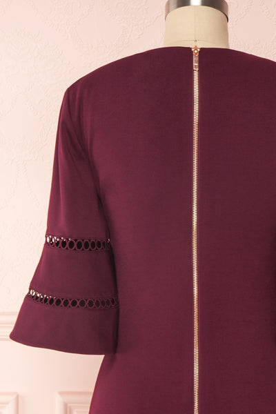 Filnio Burgundy Fitted Ted Baker Cocktail Dress | BACK CLOSE UP | Boutique 1861