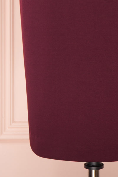 Filnio Burgundy Fitted Ted Baker Cocktail Dress | BOTTOM CLOSE UP | Boutique 1861