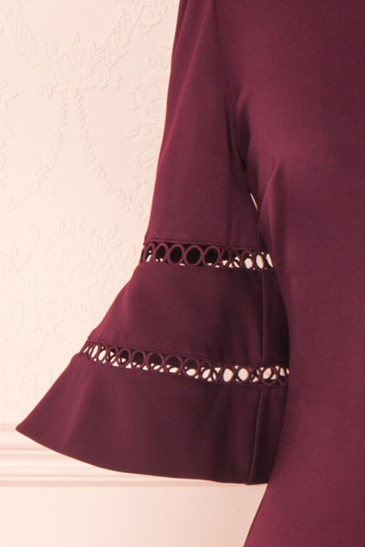 Filnio Burgundy Fitted Ted Baker Cocktail Dress  | SLEEVE  DETAIL | Boutique 1861
